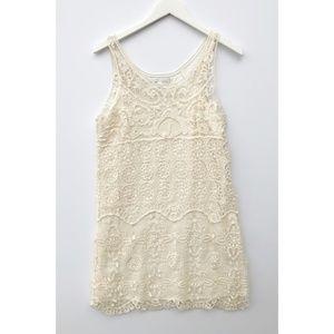 Lauren Conrad cream crocheted shift dress